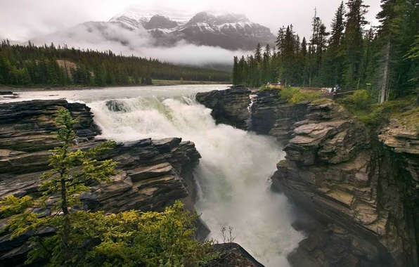 Picture the sky, clouds, trees, river, rocks, mountain, waterfall