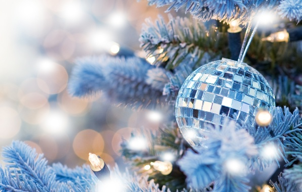 Picture decoration, lights, tree, new year, new year, garland, bokeh, Christmas ball