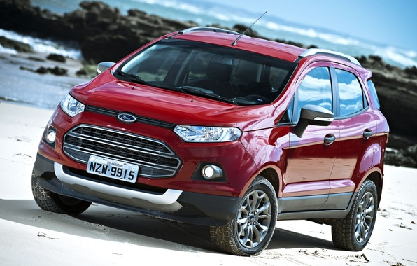 Picture red, shore, Ford, Ford, jeep, the front, crossover, Freestyle, EcoSport, Fristail, Ekosport