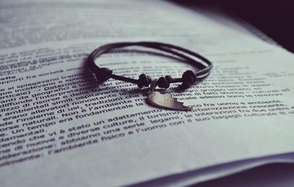 Picture text, half, book, bracelet, page, half
