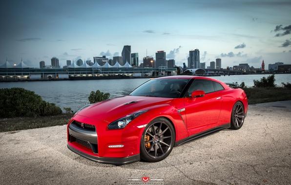 Picture machine, auto, the city, wheels, drives, auto, Vossen Wheels, Nissan. GTR