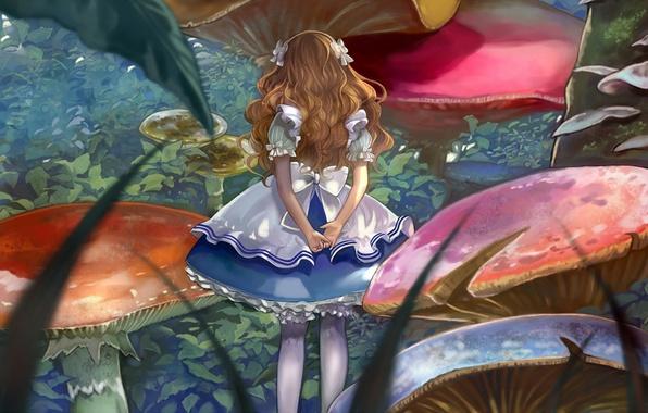 Picture mushrooms, Alice, girl, bows, Alice in Wonderland, Alice