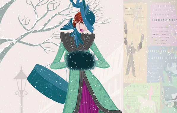 Picture winter, look, girl, snow, vector, hat, coat, vintage, meh. bag