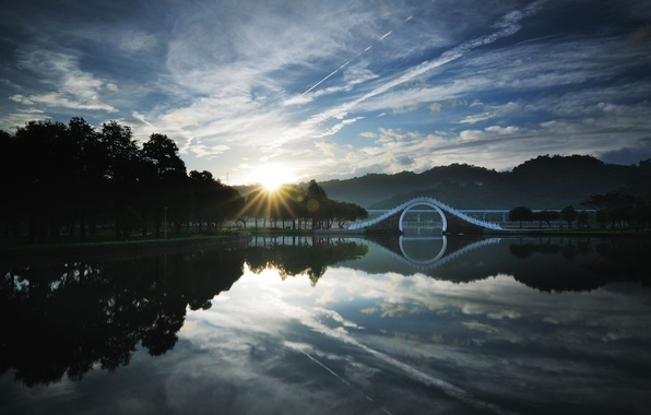 Picture FOREST, The SKY, CLOUDS, TREES, LAKE, The BRIDGE, SUNRISE, TAIPEI, CHINA