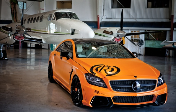 Picture auto, machine, orange, the plane, tuning, hangar, mercedes-benz, Mercedes, cls, royal
