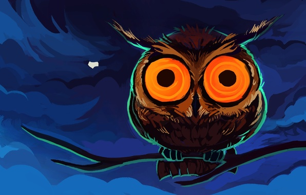 Picture eyes, clouds, orange, blue, owl, the moon, figure, branch, brown