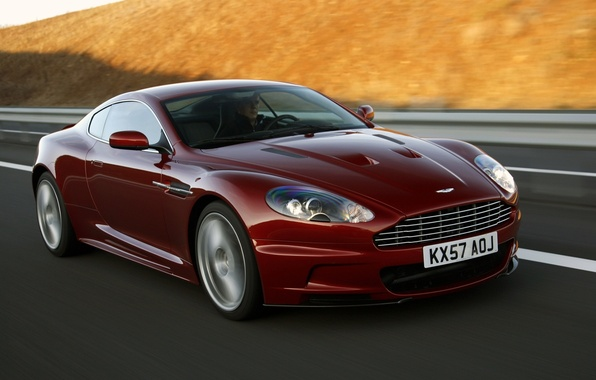 Picture road, speed, Aston Martin, supercar, aston martin, dbs, the front, Burgundy, DBS