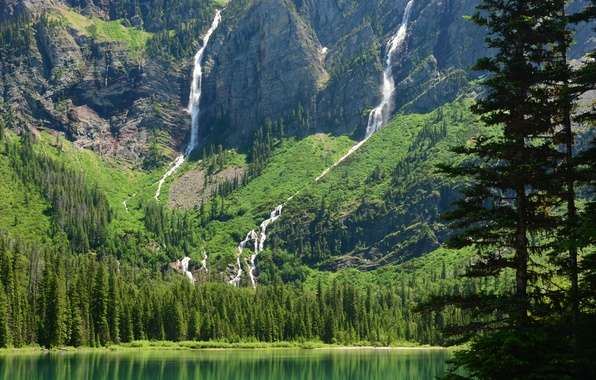 Picture mountains, lake, Montana, waterfalls, Glacier National Park, Glacier, Montana, Avalanche Lake