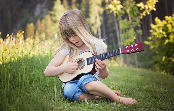 Picture summer, grass, nature, guitar, girl, child