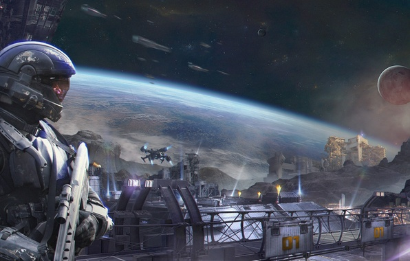 Picture space, transport, planet, ships, station, art, colony