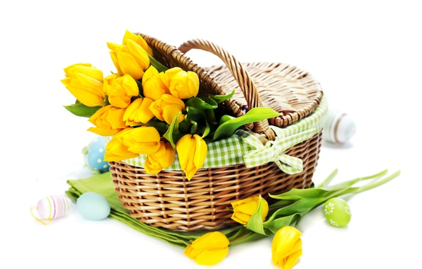 Picture photo, Flowers, Yellow, Tulips, Easter, Eggs, Basket