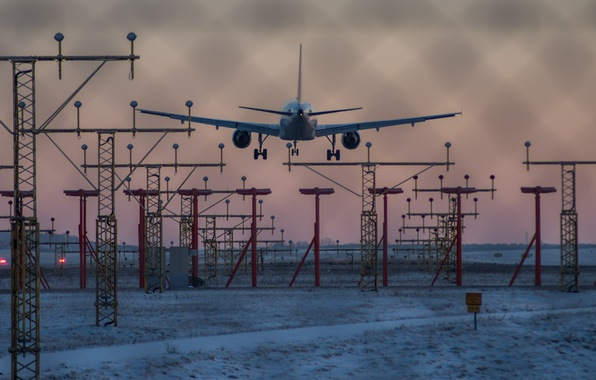 Picture winter, airplane, dusk, landing