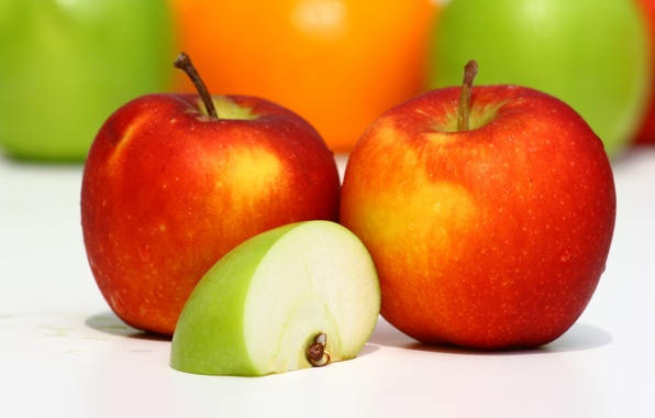 Picture macro, red, green, apples, food, food, slice, fruit, delicious, useful