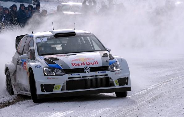 Picture Winter, Auto, White, Snow, Sport, Volkswagen, Machine, Logo, The hood, Skid, Lights, Red Bull, WRC, …