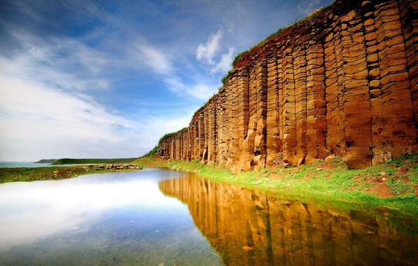 Picture sea, greens, grass, water, lake, surface, reflection, wall, hill