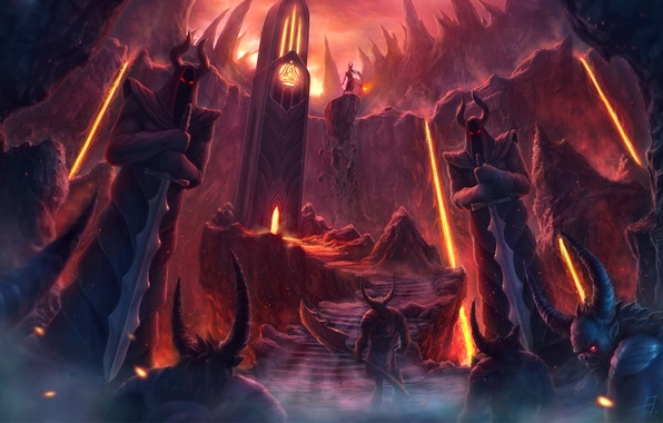 Picture weapons, rocks, magic, tower, lava, stage, Demons, statues, burning eyes