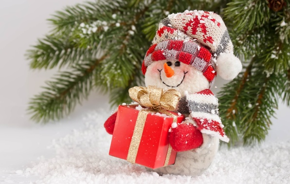 Picture New Year, Christmas, snowman, Christmas, winter, snow, gift, snowman, Merry
