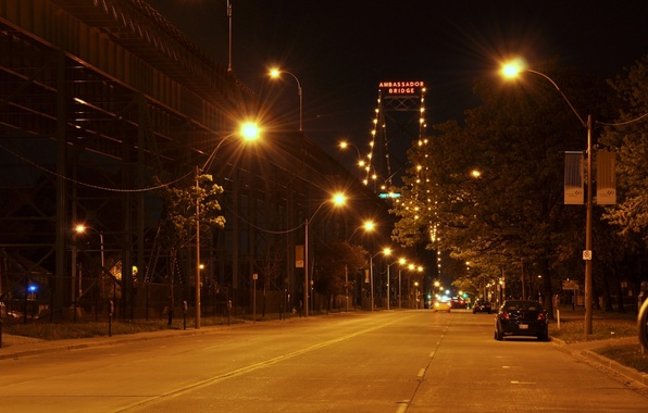 Picture machine, night, the city, lights, street, the evening, lighting, lights, the Ambassador bridge, Ambassador Bridge