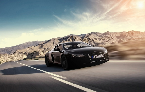 Picture the sun, mountains, Audi, Audi, speed, black, black, Blik, front