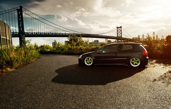 Picture bridge, the city, volkswagen, Golf, golf, Black, Volkswagen, stance, MK5