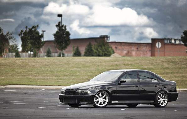 Picture black, bmw, BMW, drives, black, side view, parking, e39