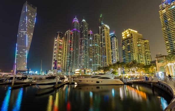 Picture building, Bay, Dubai, night city, Dubai, promenade, skyscrapers, UAE, UAE, Marina, Dubai Marina, Dubai Marina
