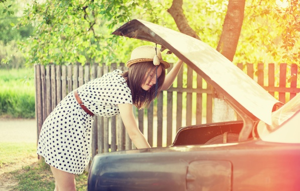 Picture machine, leaves, girl, the sun, trees, background, tree, widescreen, Wallpaper, mood, foliage, the fence, hat, …
