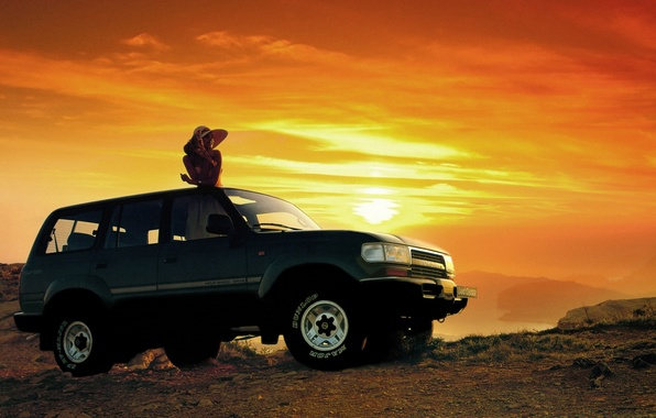 Picture girl, sunset, background, jeep, SUV, Toyota, the front, Toyota, Land Cruiser, Land Cruiser