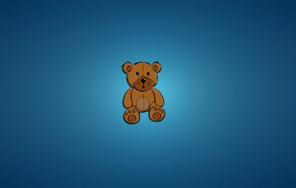 Picture toy, minimalism, bear, sitting, bear, blue background