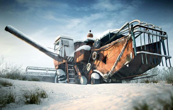 Picture winter, snow, harvester, SK-5 Niva, Rostselmash
