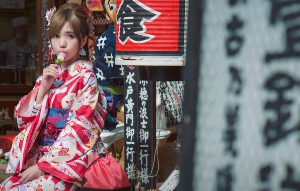 Picture look, girl, style, Japanese, characters, kimono, Asian, Hanami Dango