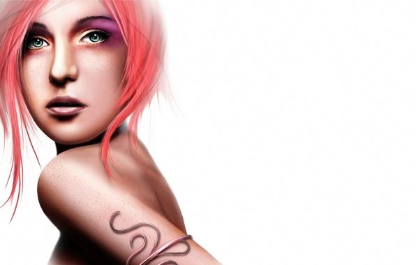 Picture girl, face, rendering, hair, back, white background, shoulder, green eyes