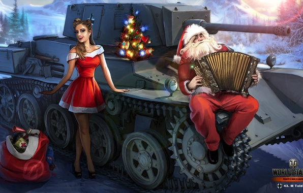 Picture winter, snow, figure, art, tank, gifts, New year, maiden, Santa Claus, accordion, German, World of …