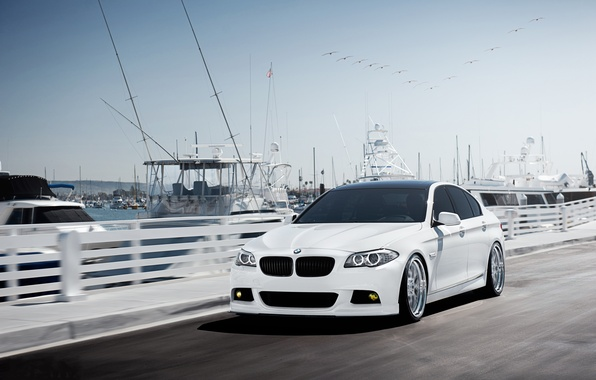 Picture BMW, speed, yachts, BMW, pier, white, white, F10, 5 Series