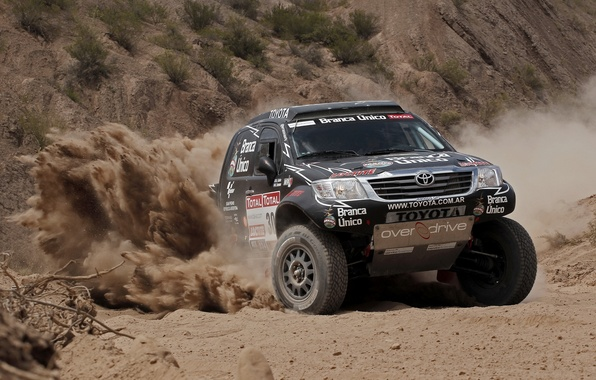 Picture Sand, Black, Turn, Skid, Lights, Toyota, SUV, The front, Competition