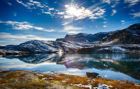 Picture the sky, water, the sun, snow, lake, hills, Nature, Nature, sky, water, lake, snow, sun, …