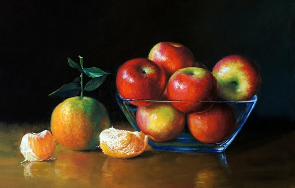 Picture apples, picture, art, painting, painting, tangerines, table., vase