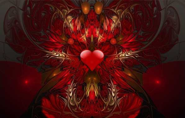 Picture pattern, heart, the volume, symmetry