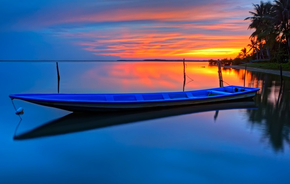 Picture WATER, HORIZON, The SKY, CLOUDS, REFLECTION, SURFACE, SUNSET, SHORE, BEAUTY, DAL, DAWN, SURFACE, BOAT, PALM ...