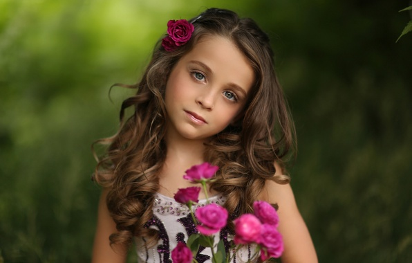 Picture portrait, roses, girl