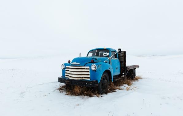 Picture winter, field, machine, truck