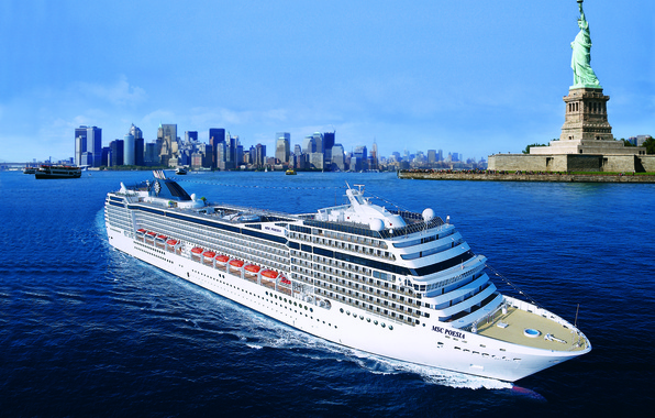 Picture Sea, The city, White, Liner, Day, The ship, New York, On the go, MSC Poesia