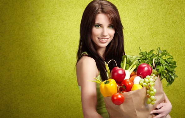 Picture greens, girl, smile, lemon, apples, makeup, bow, grapes, pepper, brown hair, fruit, vegetables, tomatoes, purchase, …