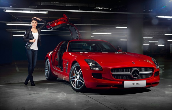 Picture Mercedes-Benz, Girl, Red, AMG, SLS, Beauty, Supercar, Door, Elmira Abdrazakova