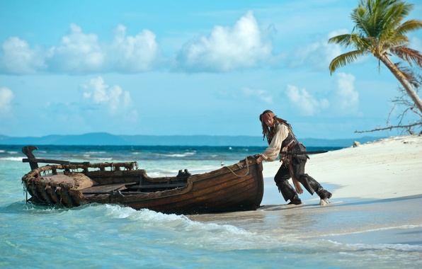 Picture coast, boat, Johnny Depp, captain Jack Sparrow, Pirates of the Caribbean: On stranger tides, Pirates …
