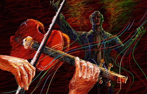 Picture violin, vector, concert, violinist, sounds, touch, conductor