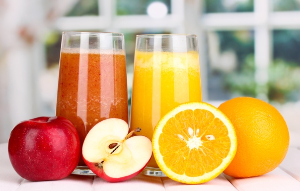 Picture Apple, orange, juice, glasses, fruit, orange, Apple