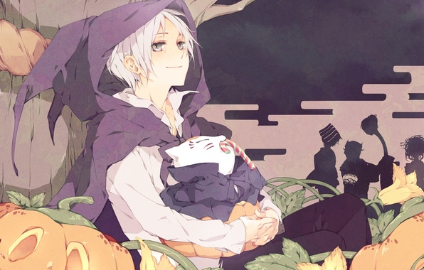 Picture tree, anime, candy, pumpkin, Halloween, flowers, Natsume, Natsume Yuujinchou, U-Sensei, youkai, Natsume, The Natsume book …