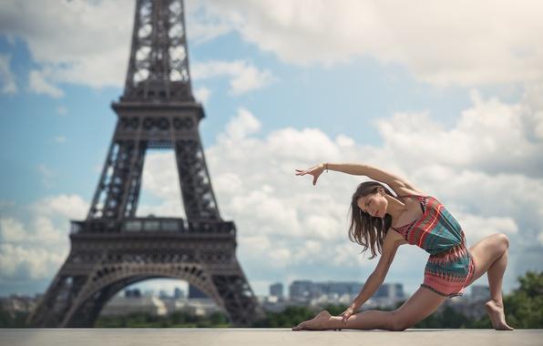 Picture girl, pose, France, Paris, Eiffel tower, Paris, France, bokeh, dancer, Eiffel Tower, Elise Cruz