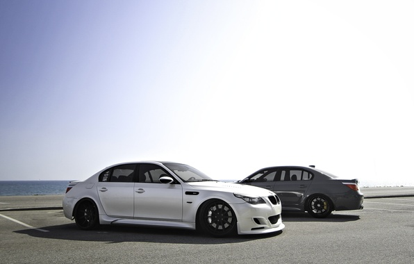 Picture white, grey, bmw, BMW, shadow, Parking, white, grey, e60
